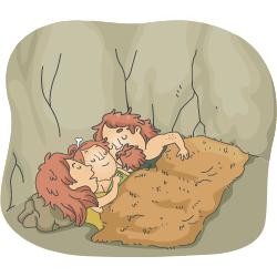 Happy sleeping cave folk